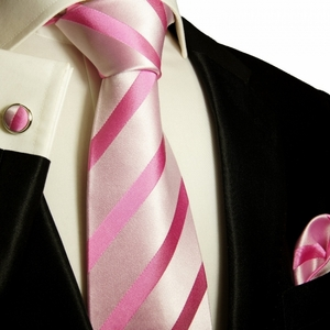Paul Malone Silk Tie Set  - Pink Stripes (092CH)