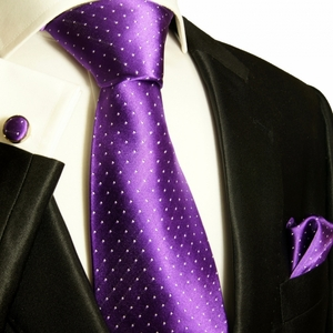 Paul Malone Silk Tie Set - Purple and White Polka Dots (806CH)