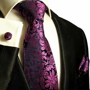 Paul Malone Silk Tie Set - Purple and Navy Pattern (688CH)