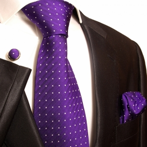 Paul Malone Silk Tie Set  - Purple Polka Dots (449CH)