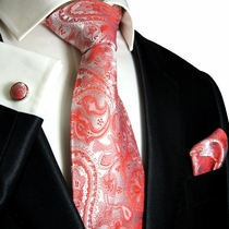 Paul Malone Silk Tie Set - Red Paisley (338CH)