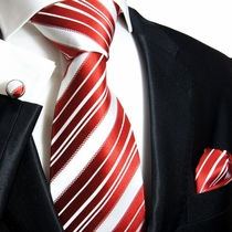 Paul Malone Silk Tie Set - Red & White (445CH)