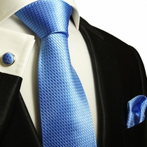 Paul Malone Silk Tie Set - Solid Blue (502CH)