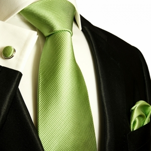 Paul Malone Silk Tie Set - Solid Green (504CH)