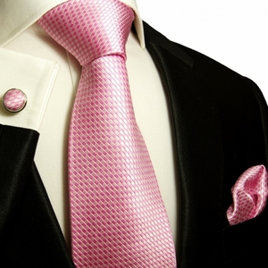 Paul Malone Silk Tie Set - Solid Pink (501CH)