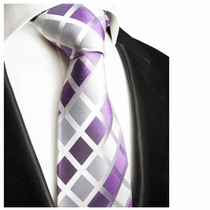 Paul Malone Silk Tie, Silver & Purple (466)