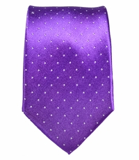 Paul Malone Slim Silk Tie . Purple Polka Dots