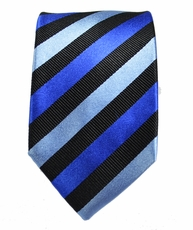 Paul Malone SLIM TIE . 2.5' wide . 100% Silk . Blue and Black Stripes
