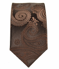 Paul Malone SLIM TIE . 2.5' wide . 100% Silk . Brown Paisley