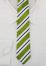 Paul Malone SLIM TIE . 2.25in. wide . 100% Silk . Green, White and Navy (Slim103)