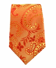 Paul Malone SLIM TIE . 2.5' wide . 100% Silk . Orange Paisley