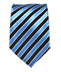 Paul Malone SLIM TIE . 2.5' wide . 100% Silk . Turquoise and Black Stripes