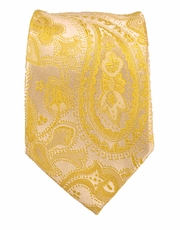 Paul Malone SLIM TIE . 2.5' wide . 100% Silk . Yellow Paisley (Slim427)