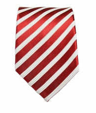 Paul Malone Slim Tie . 2.5' wide . Red and White Stripes