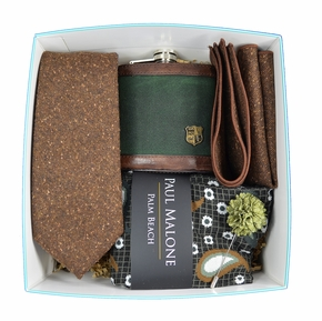 Paul Malone Tie and Flask Gift Box - Black Forest