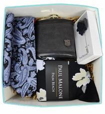 Paul Malone Tie and Flask Gift Box - Black Ink