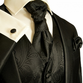 Paul Malone Tuxedo Vest Set , Black Paisleys