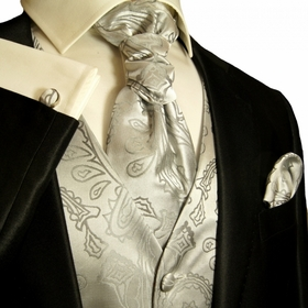 Paul Malone Tuxedo Vest Set in Silver