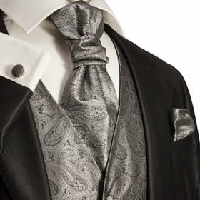 Paul Malone Tuxedo Vest Set , Silver Gray Paisleys