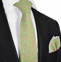 Peridot Green Summer Flowers in Cotton by Paul Malone
