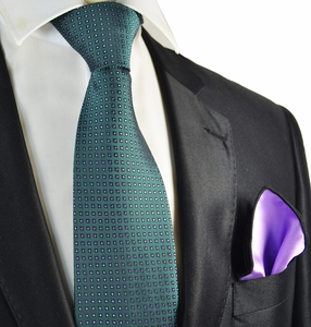 Petrol and Purple Tie with Contrast Rolled Pocket Square