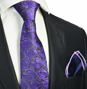 Petunia Tie with Contrast Rolled Pocket Square
