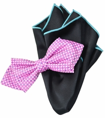 Pink and Black Bow Tie Set with Rolled Bordered Pocket Square
