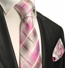 Pink and Gray Silk Necktie Set . Paul Malone