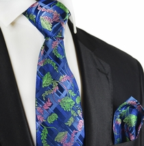 Pink and Green on Blue Silk Tie Set by Paul Malone