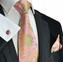 Pink and Green Paul Malone Silk Tie Set