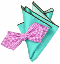 Pink and Mint Bow Tie Set with Rolled Bordered Pocket Square