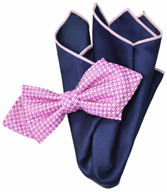 Pink and Navy Bow Tie Set with Rolled Bordered Pocket Square