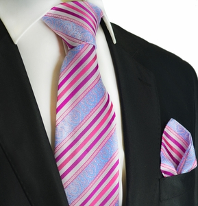 Pink and Sky Blue Silk Tie Set by Paul Malone