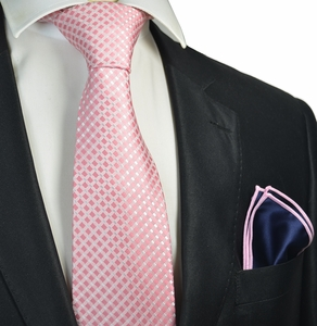 Pink Checked Tie with Contrast Rolled Pocket Square Set