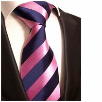 Pink & Navy Striped Paul Malone Silk Necktie