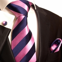 Pink & Navy Stripes Paul Malone Club Tie Set