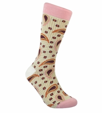 Pink Paisley Cotton Dress Socks by Paul Malone