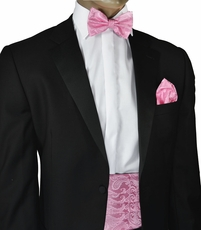Pink Paisley Cummerbund and Bow Tie Set