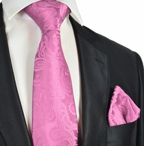 Pink Paisley Necktie and Pocket Square Set (Q600-F)