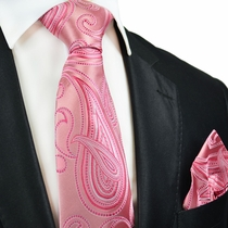 Pink Paisley Silk Tie and Pocket Square by Paul Malone Red Line