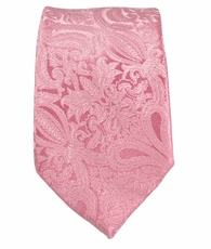 Pink Paisley Slim Tie by Paul Malone . 100% Silk