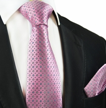 Pink Polka Dots Silk Tie and Pocket Square by Paul Malone