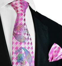 Pink Steven Land Big Knot Silk Tie and Pocket Square