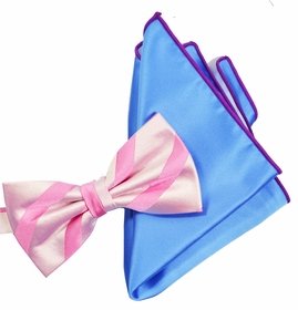 Pink Striped Silk Bow Tie with Rolled Bordered Pocket Square