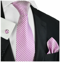 Pink Striped Silk Tie Set by Paul Malone
