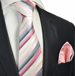 Pink Striped Tie with Contrast  Rolled Pocket Square Set