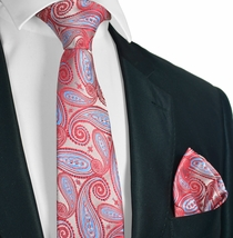 Poinsettia Red and Blue Tie and Pocket Square Set