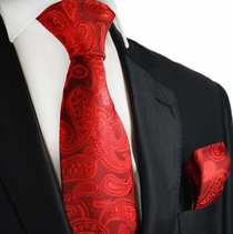 Pompeian Red Paisley Silk Tie Set by Paul Malone