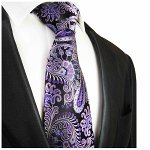 Purple and Black Necktie by Paul Malone . 100% Silk (552)