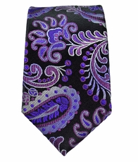 Purple and Black Paisley Boys Tie . 100% Silk